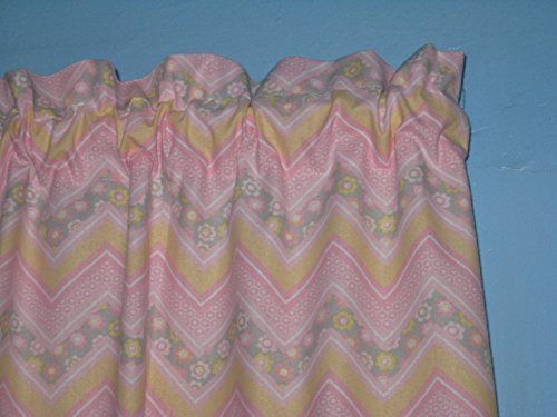 PINK WHITE YELLOW FLORAL Handmade 100% Cotton Window Curtain