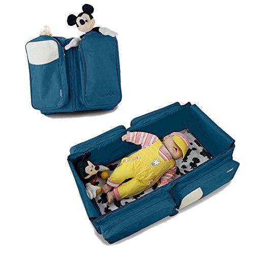 Webeauty ® 3 en 1 bebe de viaje Cuna / bolsas de pañales & portatil cuna cama para recién nacidos, bebés, niños, niñas - Baby Nursery cama para viajar (Gray) azul