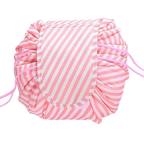 Gracelife Magic Travel Pouch Lazy Portable Quick Pack Drawstring Makeup Bag Waterproof Zippered Cosmetic Storage Bag (Pink Stripe)