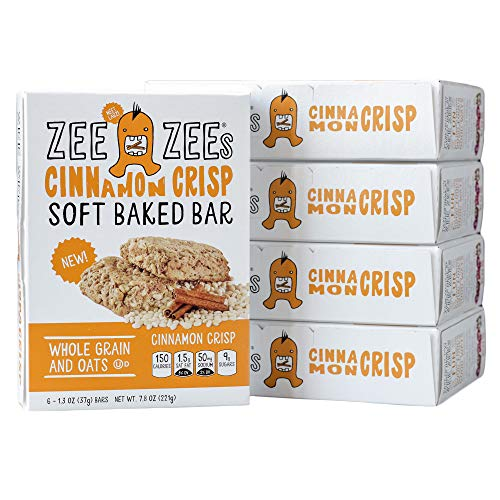 Zee Zees Cinnamon Crisp Soft Baked Snack Bars, Nut-Free, Whole Grain, Naturally Colored and Flavored,1.3 oz Bars, 30 pack