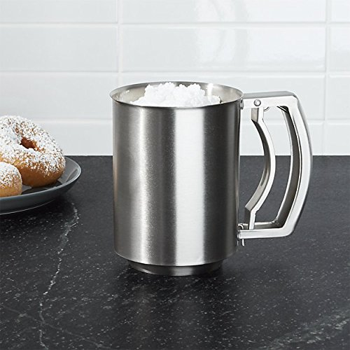 i KiTo 3 Cup Flour Sifter Hand Extrusion 3 Triple-layer Powder Sieve,0.8mm Thick Stainless Steel by i KiTo
