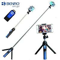 Selfie Stick Bluetooth Handheld Tripod Monopod Extendable Self-portrait with Remote Shutter for iPhone Samsung Gopros -Blue