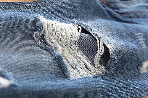 Fesse Taille Denim Pieds Jeans Pantalons ZongSen Femme Bleu Trou Leggings Haute OqfFWnEHIw