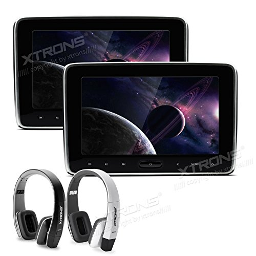 XTRONS 2X 10.1 Inch Twins HD Digital Screen Car Auto Headrest DVD Player New Version Fashion Headphones Included (Black&White)