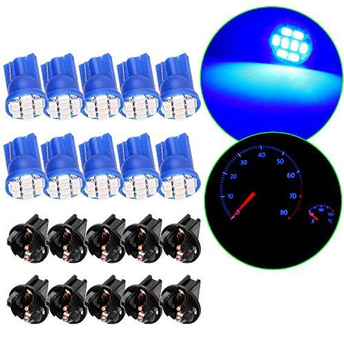 Twist Shift Kit - cciyu 10 Pack Blue 8SMD T10 Wedge 194 LED Light Bulb 1/2 Hole Twist Instrument Panel Dash Light w/Socket