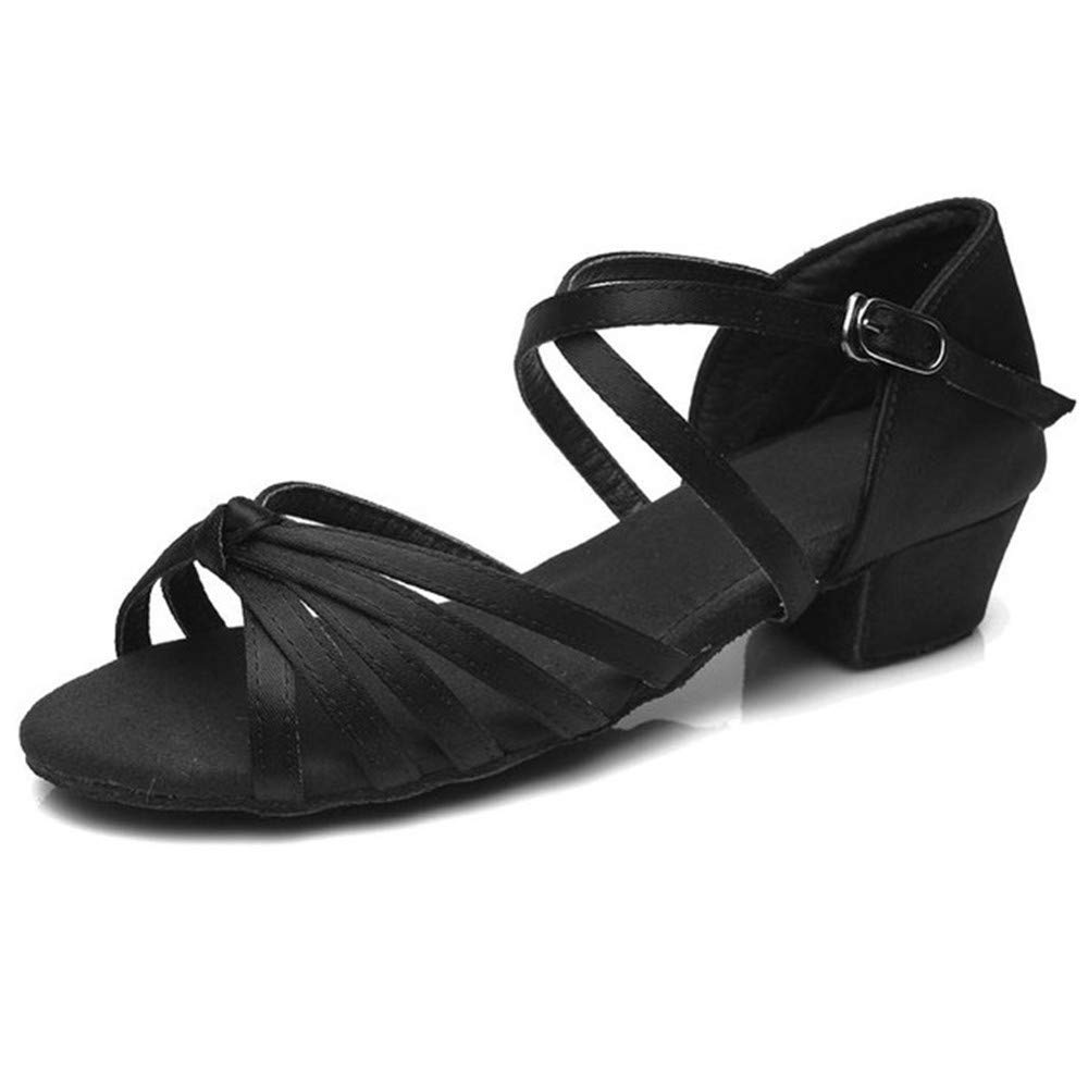 ZHIZHEN Girls Children's Dance Hall Tango Latin Dance Shoes Low Heel Shoes 40 Black by ZHIZHEN