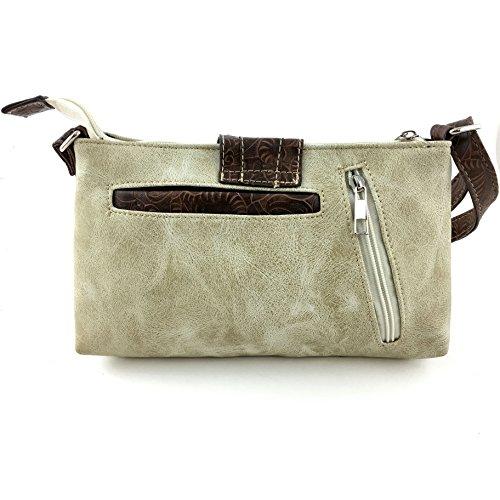 Laser Western Buckle with West Rhinestone Tooled Purse Beige Bag Cut Strap Messenger Long Justin Crossbody xYZAwnqn