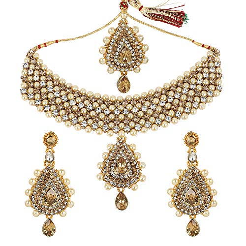 (MUCH-MORE Antique Tone Fashion Necklace Set with Pearl & Crystal Stone for Women (108WHITE))