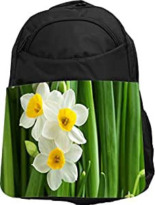 Rikki Knight UKBK Chinese Yellow and White Daffodils Tech BackPack - Padded for Laptops & Tablets Ideal for School or College Bag BackPack