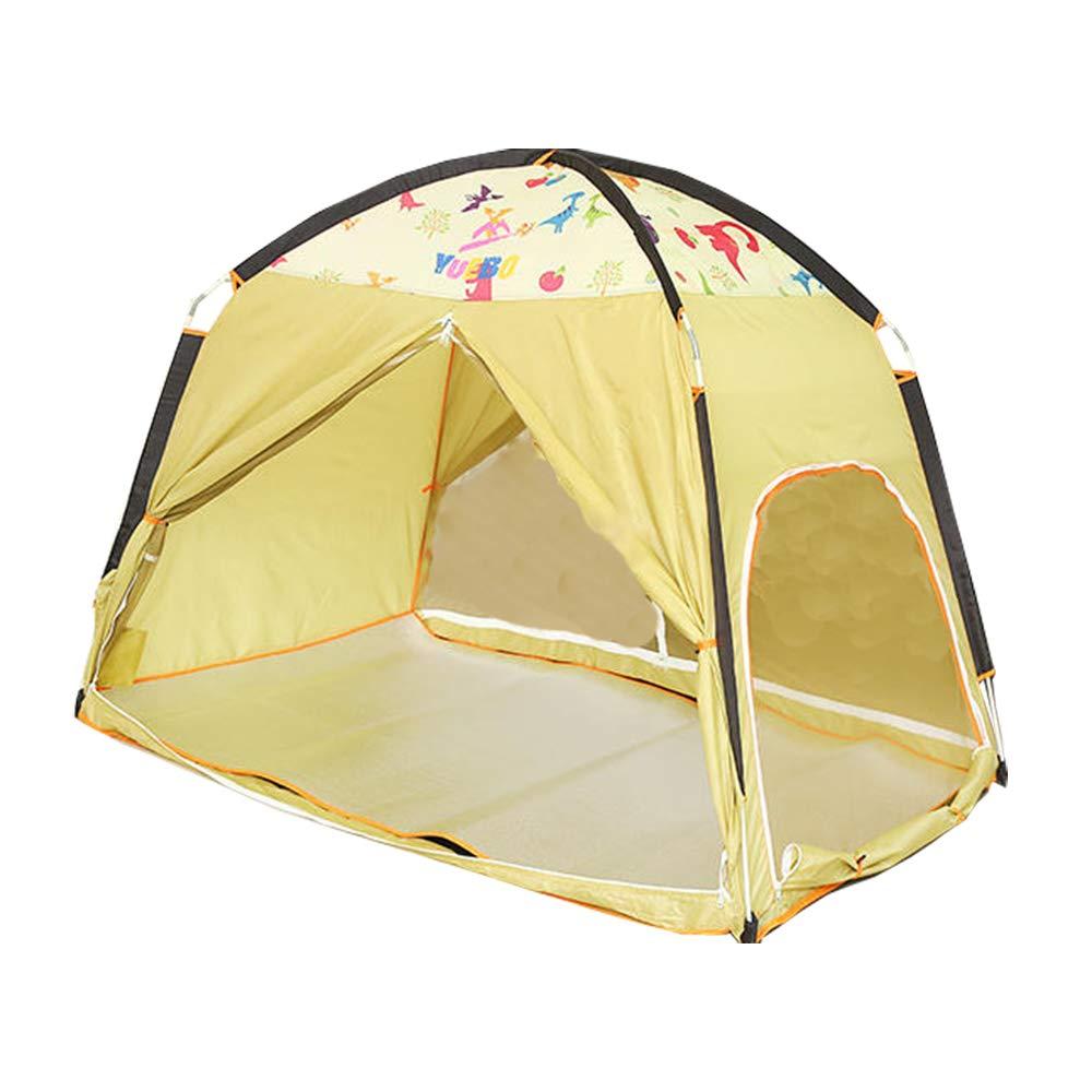 屋内テント多人数屋外キャンプ子供の遊び場ベッド飛散防止防風蚊暖かいテント B07TGTNFGW yellow 200*120*140cm