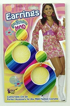 [60s Revolution Mod Costume Earrings - Rainbow] (60s Mod Girl Costumes)