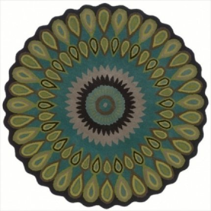LR Resources Trade-Am Vibrance Miai Round Rug, 5-Feet, Round, Blue