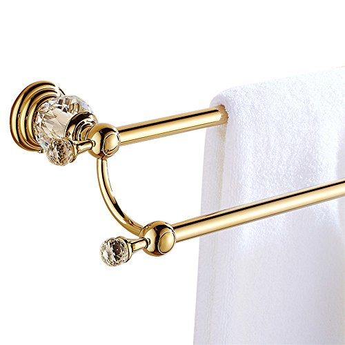 WINCASE European Double Towel Bar Holder Towel Rail, All Zinc Alloy Construction Bathroom Accessories Polished Gold Finished Wall Mounted with Crystal