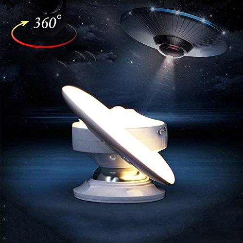Finduat USB Rechargeable Motion Sensor Night Light, UFO LED Infrared Human Body Induction Lamp 360 Degree Rotation Intelligent Creative Night Light Lamp Wall Lamp(Warm White)