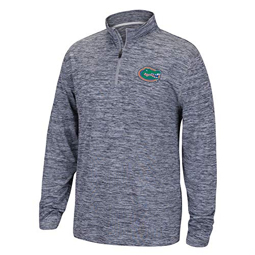 (Top of the World NCAA Men's Florida Gators Dark Heather Space Dyed Poly Quarter Zip Pullover Graphite X)