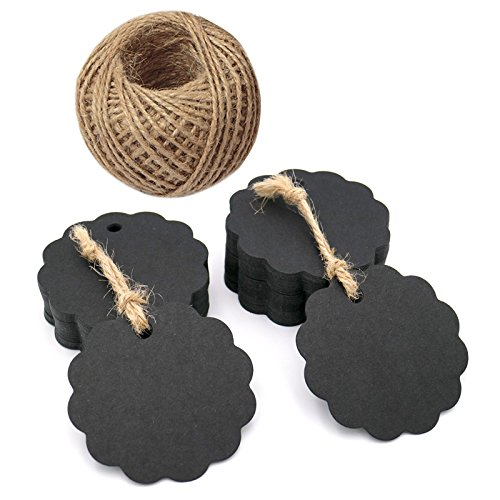 100 PCS Black Flower Kraft Paper Gift Tags,Round Wedding Favor Kraft Hang Tags with 100 Feet Jute Twine ()