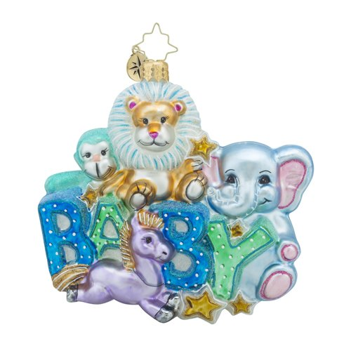 Christopher Radko Lullaby Baby Baby and Animal Christmas Ornament