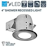 Nadair GU378L-FROBN 4in Shower Recessed Lighting Dimmable LED Downlight Bathroom Spotlights - IC Rated - GU10 550 Lumens Bulb (50 Watts Equivalent) Included, Brushed Nickel
