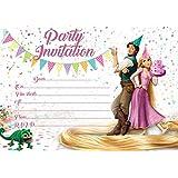 10 X Rapunzel Tangled Children Birthday Party Invitations With White Envelopes