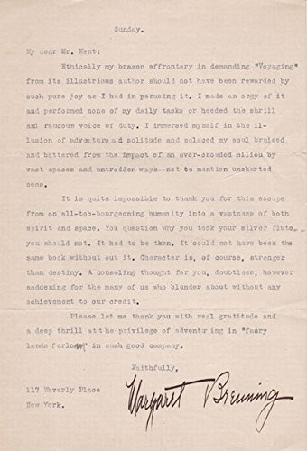 - TYPED LETTER SIGNED by New York Evening Post critic Margaret Breuning, addressed to ROCKWELL KENT praising his book