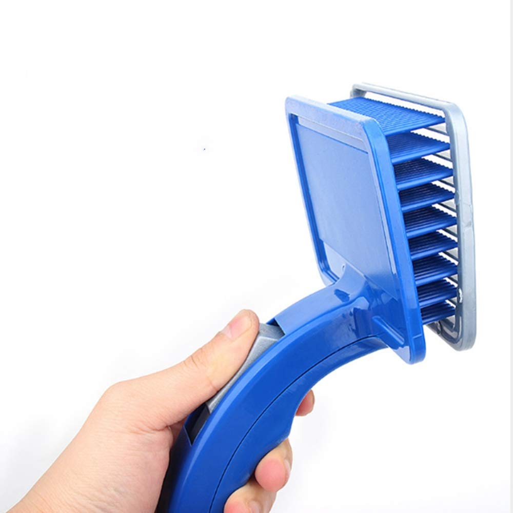 Pet Grooming Tool Undercoat Rake for Cats & Dogs Safe Comb Tangles Removing Nasty Shedding and Flying Hair Cat Dog Brush Self-Cleaning Button