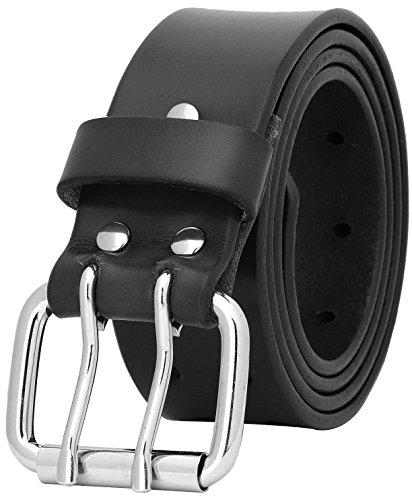 Falari Men's Full Grain Leather Belt Double Prong Belt (30 waist 28, 9024 Black, Stainless Steel Buckle)