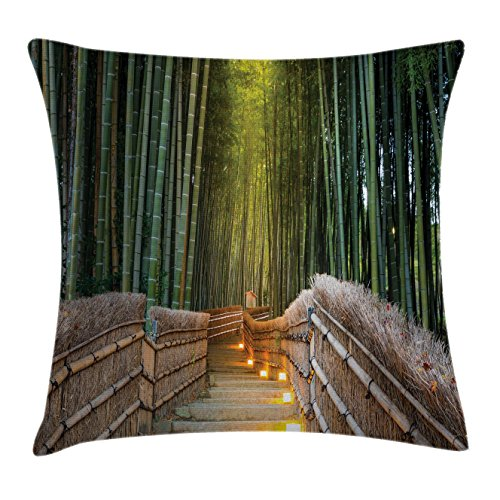 Ambesonne Apartment Decor Throw Pillow Cushion Cover, Chinese Ancient Bridge to Arashiyama Bamboo Forest Exotic Savannah Picture, Decorative Square Accent Pillow Case, 18 X 18 inches, Green Brown