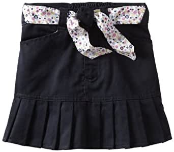 U.S. Polo Assn. Big Girls Pleated Scooter and Reversible Belt, Navy, 8
