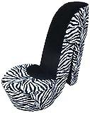 William's Home Furnishing 74038 Zebra High Heel Chair, Multicolor