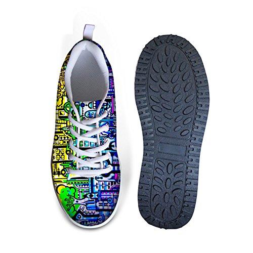 Pour Vous Dessine Des Graffiti Colorés Plate-forme De Confort Pour Femmes Plate-forme Chaussures De Marche Bleu B