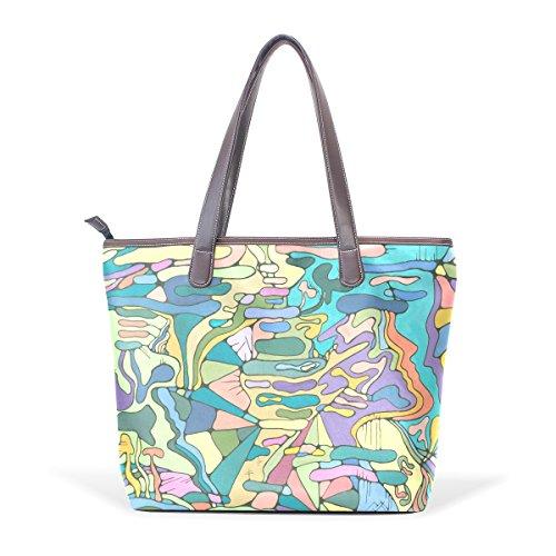 COOSUN Bolso para mujer del asa grande bolsa de asas colorida pintura cuero de la PU M (40x29x9) cm muticolour