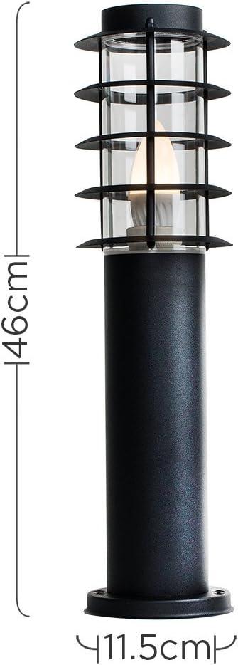 Modern IP44 Rated Outdoor Black Stainless Steel Bollard Lantern Light Post