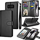 Tekcoo For Galaxy Note 8 Wallet Case, Tekcoo Samsung Galaxy Note 8 PU Leather Case, Luxury ID Cash Credit Card Slots Holder Carrying Flip Cover [Detachable Magnetic Hard Case] & Kickstand - Black