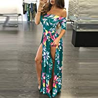 Wensltd Women Plus Size Jumpsuit Romper Short Trousers Bodycon Clubwear Playsuit Long Dress (XL, Green)