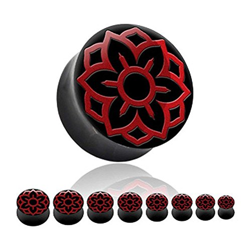 Covet Jewelry Red Lotus Inlay Organic Horn Saddle Fit Plug (1
