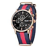 Megir Men's Quartz Watch Wristwatch with Striped Nylon Band, Black