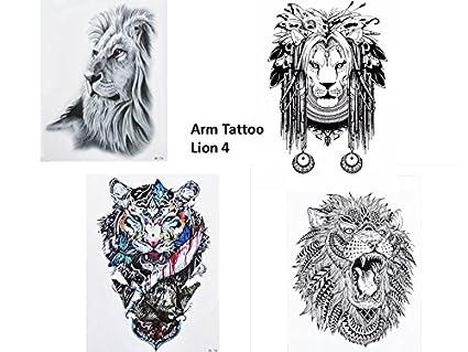 4 Sheets Lion Tattoo Noir Et Eau Couleurs Multicolore Bracelet Bras Tatouage Faux Tatouage Lion 4