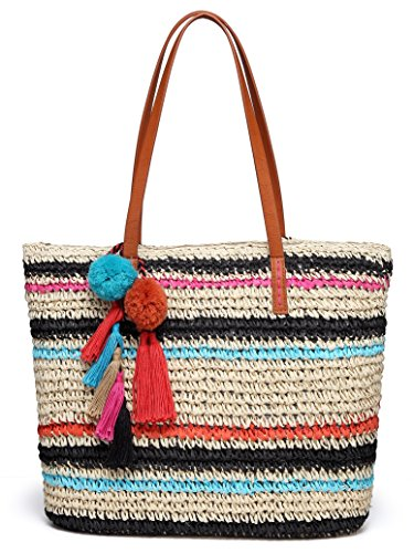 Daisy Rose Large Straw Beach Tote Bag with Pom Poms and Inner Pouch -Vegan Leather Handles, Multi Color