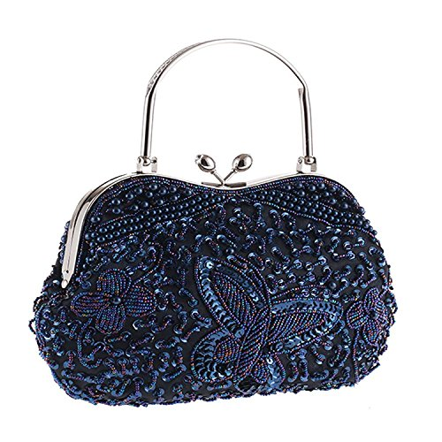 - Womens Vintage Jewels Beaded Evening Clutch Bag Top-handle Prom Party Purse Formal Handbag(Navy Kissing Lock)