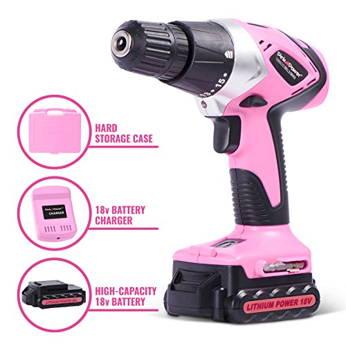 Pink Power PP181LI 18 Volt Lithium-Ion Cordless Electric Drill Driver Kit for Women- Tool Case, Drill Set, Battery & Charger by Pink Power (Image #2)