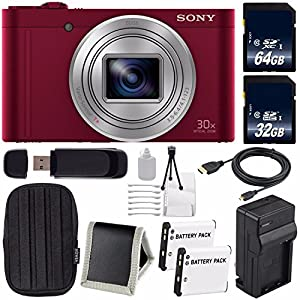 Sony Cyber-shot DSC-WX500 Digital Camera (Red) + NP-BX1 Replacement Lithium Ion Battery + External Rapid Charger + 32GB microSD Card + 64GB microSDXC Card + Memory Card Wallet + HDMI Cable Bundle
