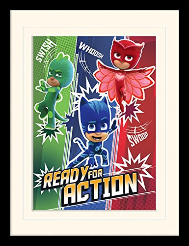 Pj Masks Framed Collector Poster - Ready For Action, Amaya, Greg, Connor,