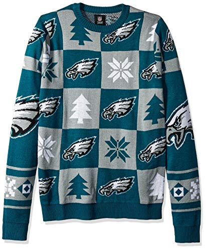 Philadelphia Eagles Patches Ugly Crew Neck Sweater Large ()