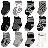 12 Pairs Assorted Baby Toddler Socks with Grips Non Skid Anti Slip Cotton Ankle Socks for Walker Kids 12-24 Months (Grey)