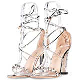 JSUN7 Women's Lace Up Chunky High Heels Pumps One Band Pearl Flower Open Toe Sandal Wedding Party Dress Pump Silver 6