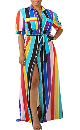 049368051ff2 Image Unavailable. Image not available for. Color: Voghtic Rainbow Striped Maxi  Dress Short Sleeve Button Loose Long Blouse Dresses for Women