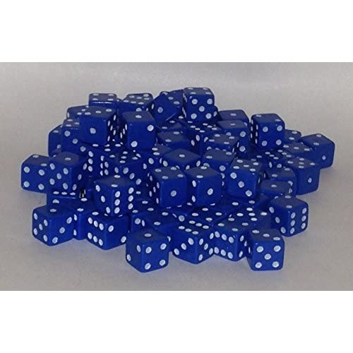 100 x 7mm opaque Plastic dice (Blue) by Bulk Dice