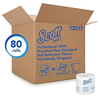 Kimberly-Clark Professional Scott Recycled Fiber Bulk Toilet Paper,2-PLY Standard Rolls, White, 80 Rolls/Case, 506 Sheets/Roll