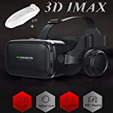 "VR Headset/Glasses with Remote Controller & Headphones[Built-in], TSANGLIGHT Virtual Reality Headset 3D IMAX Movie Game Visor for Galaxy S8 S7 iPhone X 8 7 Plus &Other 4.7-6.0"" Android/IOS Smartphone"