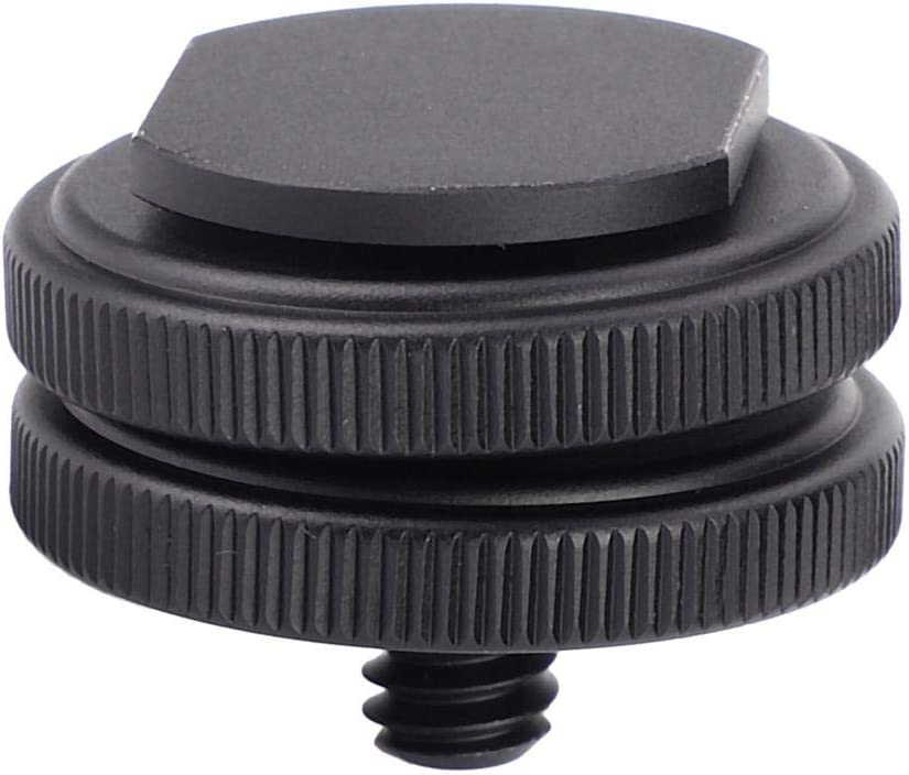 Acouto Aluminum Alloy Hot Cold Shoe Mount Adapter 1//4-20 Tripod Screw to Flash Hot Shoe for DSLR Camera
